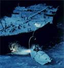 El robot submarino Jason Jr. explora los restos del Titanic en julio de 1986