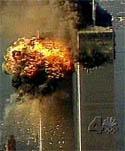 Impacto del avión en la segunda torre del World Trade Center de Nueva York