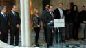 El presidente de la Generalitat de Catalunya, Artur Mas, anunciando la convocatoria y la pregunta del referéndum