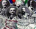 Mapa de los Balcanes con la delimitación de las fronteras de los Estados miembros de la Liga Balcánica y retratos de los monarcas respectivos (de iquierda a derecha Nicolás I de Montenegro, Pedro i de Serbia, Fernando I de Bulgaria y Jorge I de Grecia)