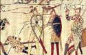 Escena del tapiz de Bayeux que describe la muerte de Harold II, herido por una flecha en el ojo, en la batalla de Hastings (Centre Guillaume le Conquérant, Bayeux, Francia)
